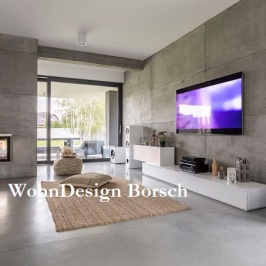 68553695 - tv living room with window, fireplace and concrete wall effect