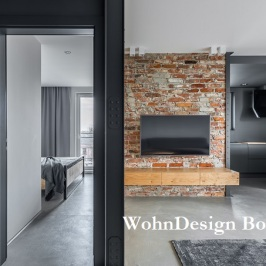 80845594 - modern apartment in gray with bedroom, living room and kitchen